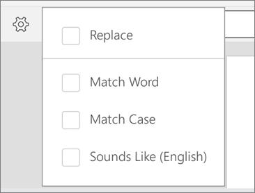 Menunjukkan opsyen ganti, Match Word, padanan huruf dan Bunyi seperti mencari dalam Word for Android.