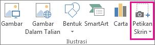 Butang petikan skrin dalam kumpulan ilustrasi dalam Word