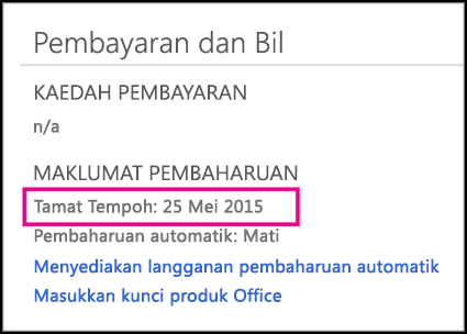 Butiran pembaharuan langganan pada halaman Office 365.