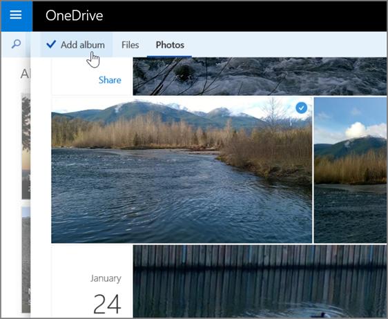 Petikan skrin mencipta album dalam OneDrive
