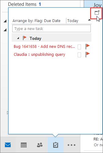 Ringkasan tugas dengan ikon dok ditonjolkan