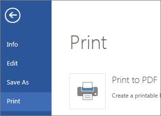 Perintah cetak dalam Word Online