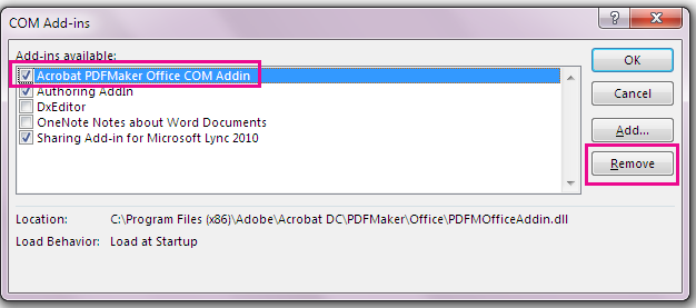 Pilih kotak semak untuk tambahan COM Acrobat PDFMaker Office dan klik Alih keluar.
