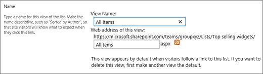 Setkan nama dan pilihan nama fail untuk pandangan