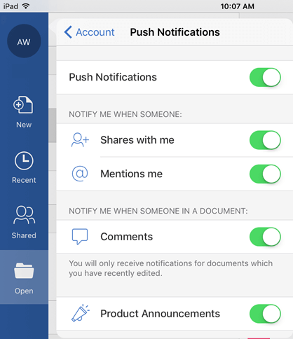 Ketik butang profil untuk mengkonfigurasikan pemberitahuan tolakan untuk dokumen kongsi