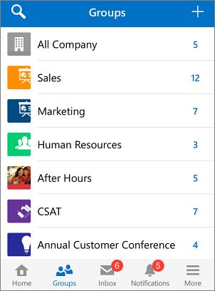 Petikan skrin kumpulan dalam aplikasi mudah alih Yammer