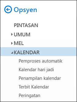 Opsyen kalendar Outlook pada Web