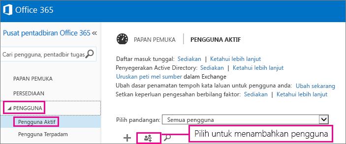 Imej seksyen Pengguna bagi pusat pentadbiran Office 365