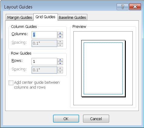 Panduan Tataletak Publisher menunjukkan Panduan Grid