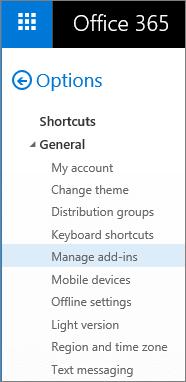 """Petikan skrin Seksyen umum menu opsyen dalam Outlook, dengan opsyen """"Urus tambahan"""" yang diserlahkan."""