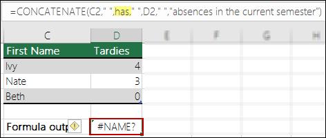 #NAME? Ralat disebabkan oleh tanda petikan berganda dalam nilai teks yang hilang