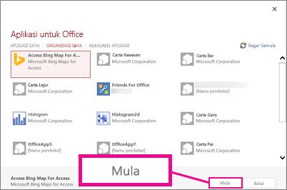 kotak dialog Aplikasi untuk Office