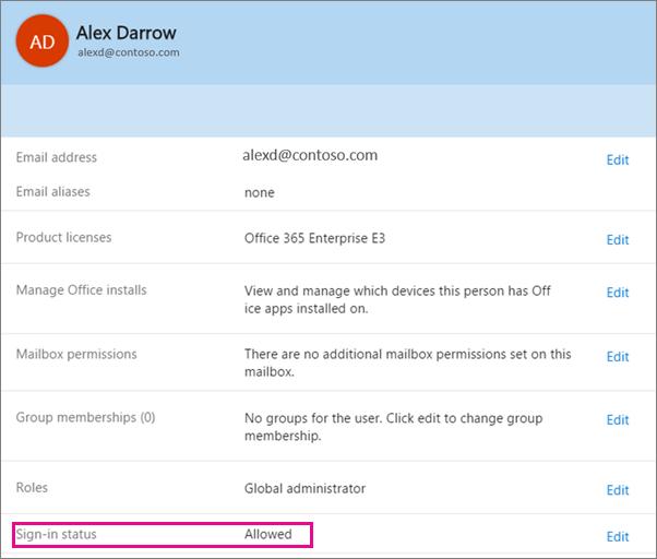 Petikan skrin bagi pengguna yang mendaftar masuk status dalam Office 365