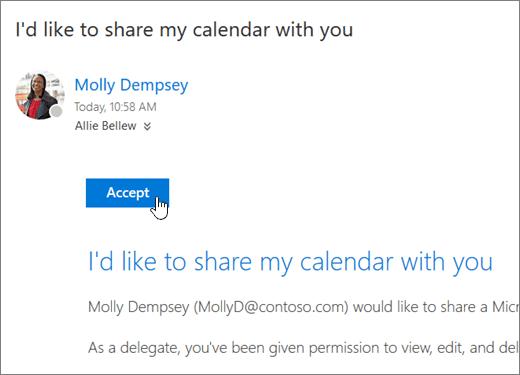 Petikan skrin jemputan kalendar kongsi.