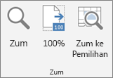 Kumpulan Zum pada reben Excel