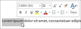 Bar alat mini dengan teks terpilih