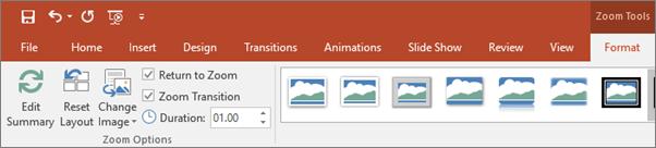 Menunjukkan alat zum dalam tab Format pada reben dalam PowerPoint.