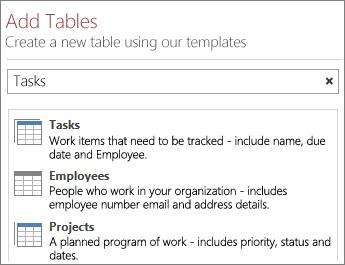 Kotak carian templat jadual pada skrin Selamat Datang Access.