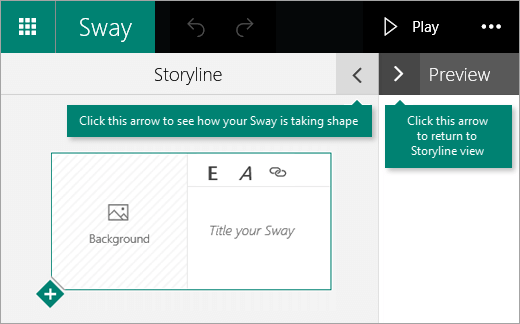 Klik anak panah yang menghadap kiri untuk pratonton Sway semasa atau klik anak panah yang menghadap kanan untuk melihat jalan cerita