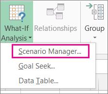 Pengurus Senario dalam galeri Analisis Bagaimana Jika pada tab data