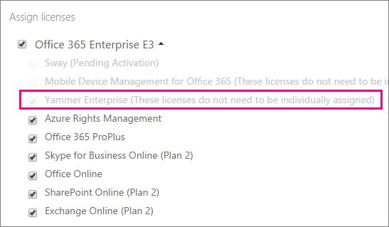 Petikan skrin bagi bahagian Peruntukkan lesen daripada pusat pentadbiran Office 365, dengan lesen Yammer Enterprise dipilih.