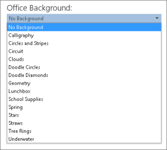 Senarai Latar Office dalam program Office 2013