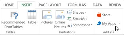 Petikan skrin Seksyen tab selitkan pada reben Excel dengan kursor yang menuding ke aplikasi saya. Pilih aplikasi saya untuk aplikasi access untuk Excel.