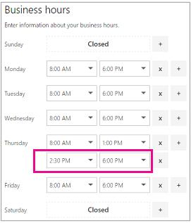 Waktu perniagaan halaman dengan baris kedua yang baru ditambah slot masa