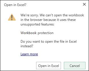 Kotak dialog apabila anda membuka buku kerja yang dilindungi kata laluan dalam Excel Online