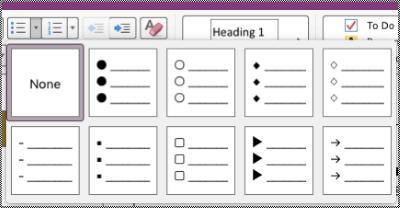 Senarai Berbulet menu tarik bawah dalam Mac.