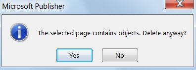 Dialog amaran mengenai memadam halaman yang mengandungi objek.
