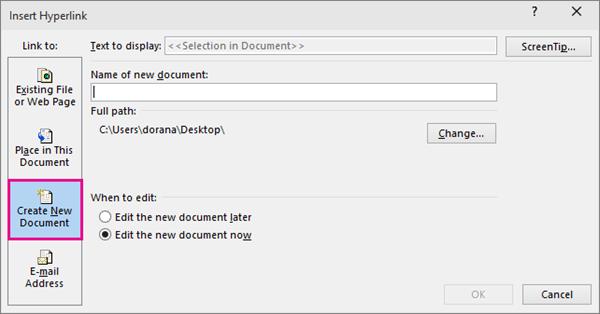 kotak dialog yang membolehkan anda untuk membuat pautan ke dokumen baru