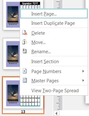 Untuk menyelitkan halaman, klik kanan pada halaman dalam anak tetingkap Navigasi Halaman.