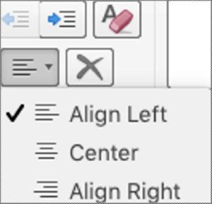Paragrah penjajaran menu tarik bawah dalam Mac.