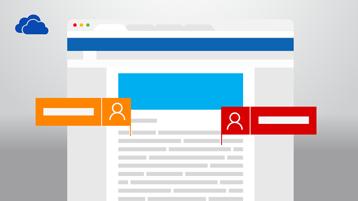 Dokumen Word, menunjukkan dua orang yang membuat perubahan dan logo OneDrive