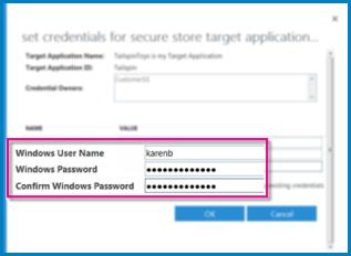 Petikan skrin menunjukkan dialog Medan Kelayakan yang anda gunakan apabila anda mencipta Aplikasi Sasaran Secure Store. Ia menunjukkan nilai lalai, Nama Pengguna Windows dan Kata Laluan Windows.
