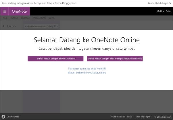 Selamat datang ke OneNote Online, tempat untuk anda mencipta, melihat dan menggunakan buku nota digital dalam pelayar anda