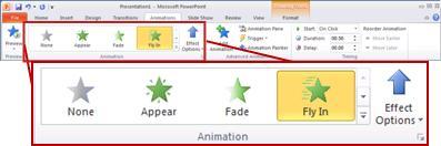 Kumpulan Animasi pada tab Animasi.