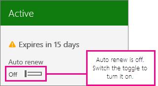 Petikan skrin langganan menunjukkan togol pembaharuan automatik