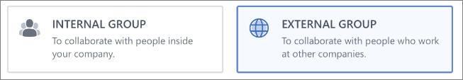 Petikan skrin menunjukkan bahawa anda boleh memilih untuk mencipta kumpulan Dalaman atau Luaran