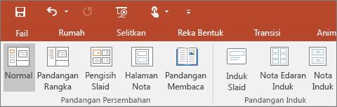 Menunjukkan menu Pandangan dalam PowerPoint