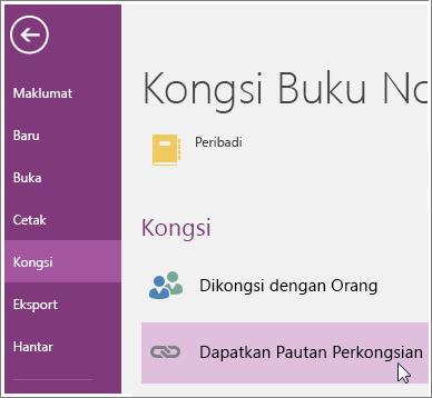 Petikan skrin Dapatkan UI Pautan Perkongsian dalam OneNote 2016.