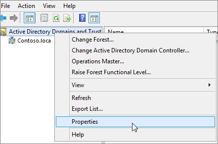 Klik kanan Domain dan Kepercayaan ActiveDirectory dan pilih Sifat