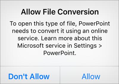 Menunjukkan gesaan privasi ODF dalam PowerPoint for iPhone