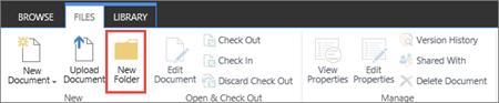 Imej reben SharePoint fail dengan Folder baru yang diserlahkan.