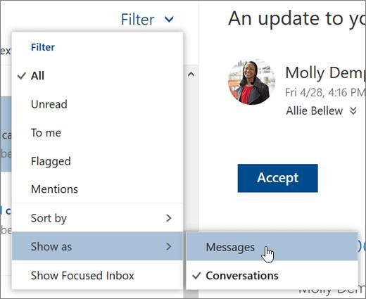 Petikan skrin menu penapis dengan Tunjukkan sebagai dipilih