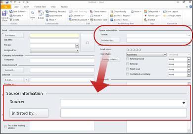 Petikan skrin menunjukkan Seksyen Maklumat sumber rekod