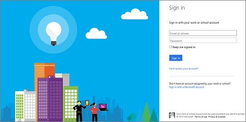 Skrin log masuk untuk Siaran Mesyuarat Skype