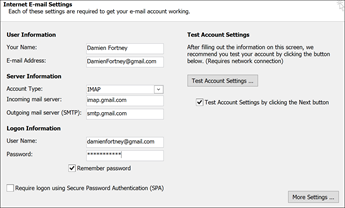 Masukkan seting pelayan Gmail anda