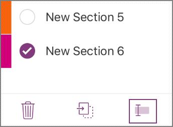 Butang Namakan semula seksyen dalam bar menu iPhone.